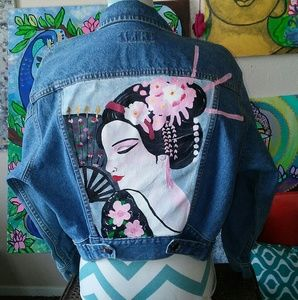Vintage Hand painted geisha denim jacket.
